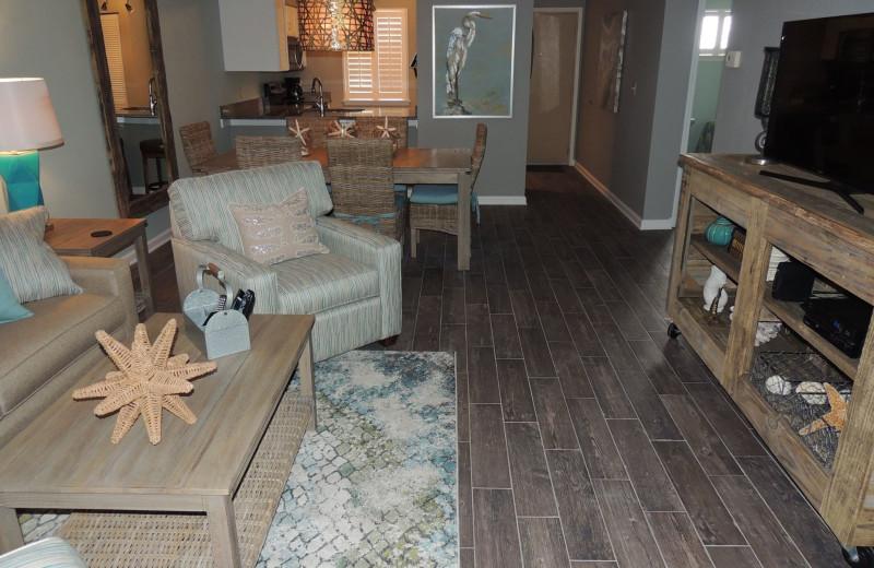 Rental living room at The Islander in Destin.