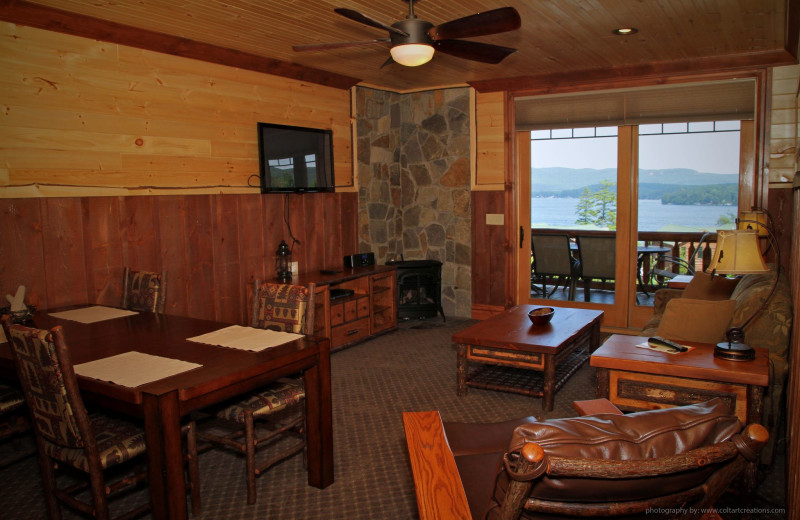 Guest living room at The Lodges at Cresthaven on Lake George.