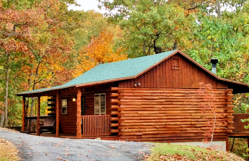 Cabin exterior at Lake Forest Luxury Log Cabins.