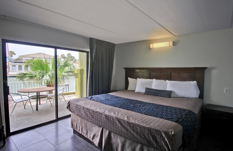 Guest bedroom at WindWater Hotel & Resort.