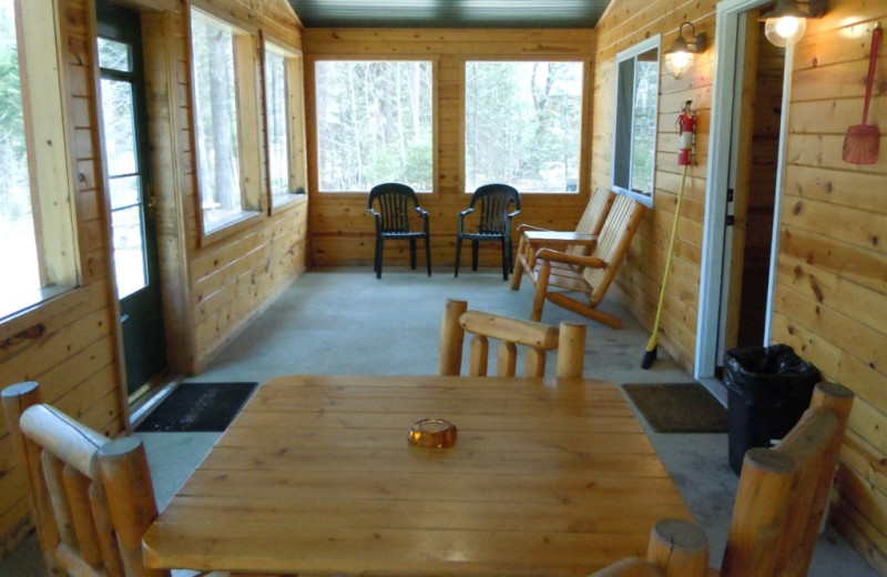 Cabin porch at Lakewood Lodge.