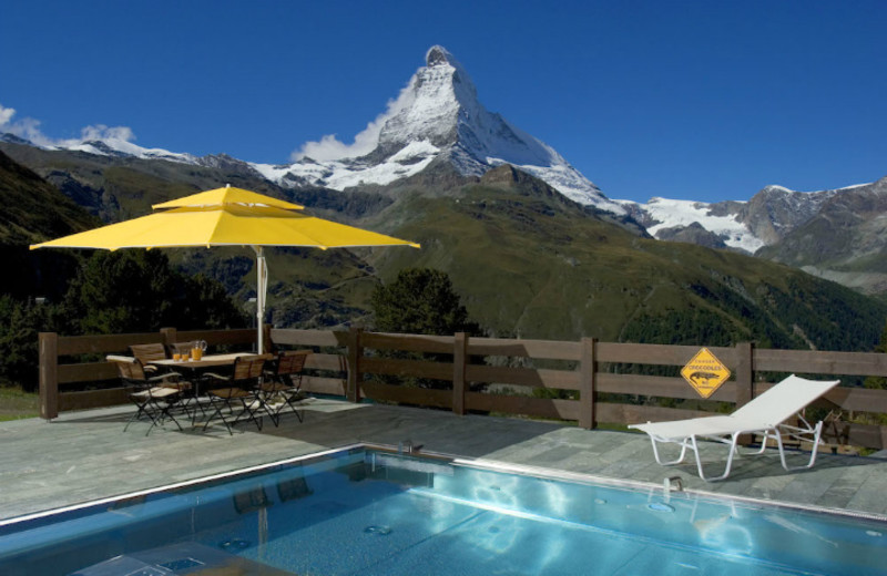 Outdoor pool at Riffelalp Resort 2222m.
