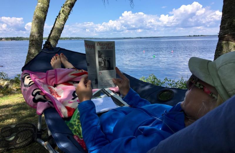Relaxing at Krueger's Harmony Beach Resort.