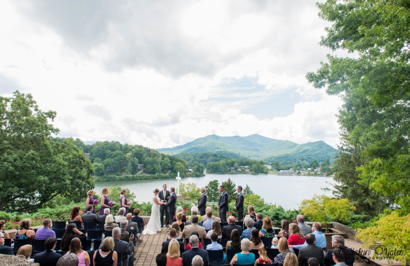 A wedding takes place at Inspiration Point, adjacent to Lambuth Inn.