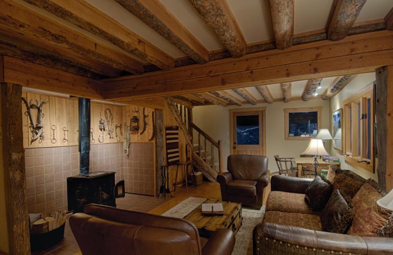 Cabin living room at Vista Verde Ranch.