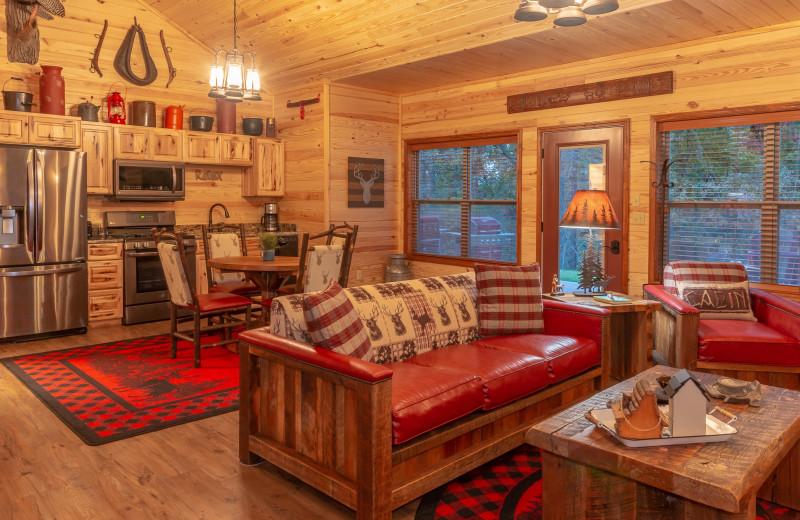 Cabin interior at Harpole's Heartland Lodge.