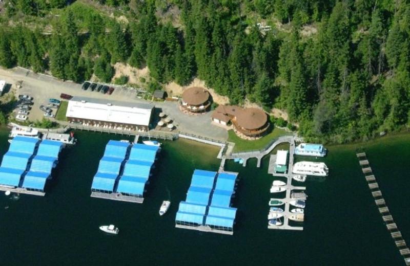 Aerial view of Blue Diamond Marina.