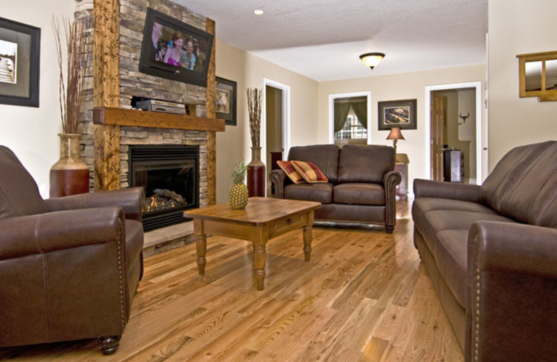 Cottage living room at Blue Water Acres.