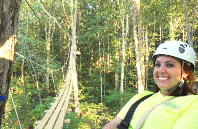 Zipline through the canopy at Mountain Top Cabin Rentals.