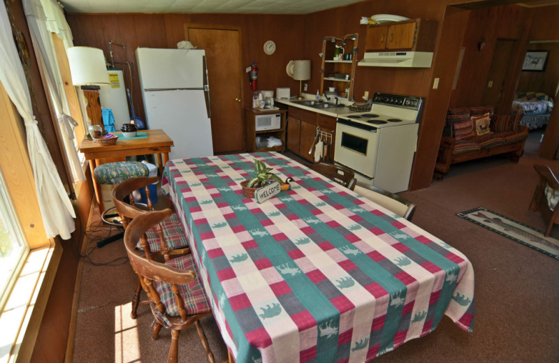 Cabin kitchen at Barker Lake Lodge.