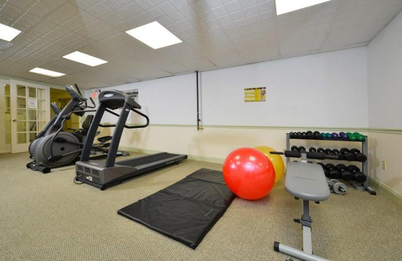 Fitness room at Bar Harbor Grand Hotel.