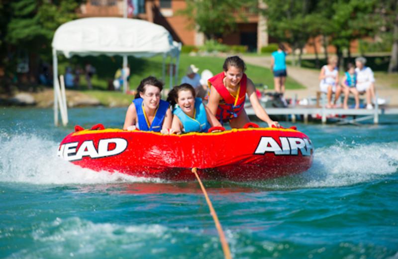Lake activities at Sugar Lake Lodge.