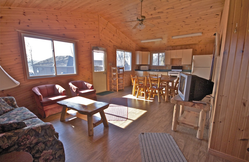 Cabin living room at Southview Cottages Resort.