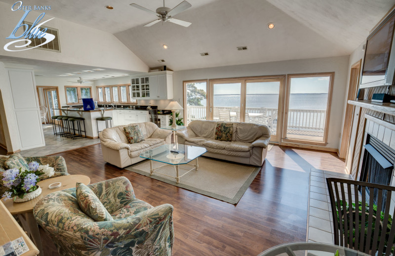 Rental living room at Outer Banks Blue.