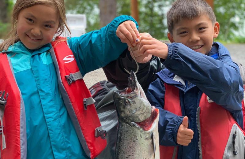 Kids fishing at Favorite Bay Lodge.