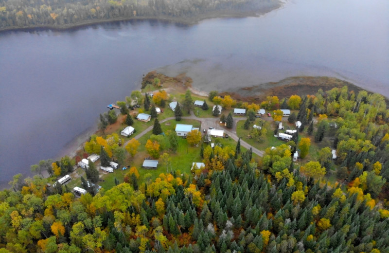 Aerial view of Elk Lake Wilderness Resort.