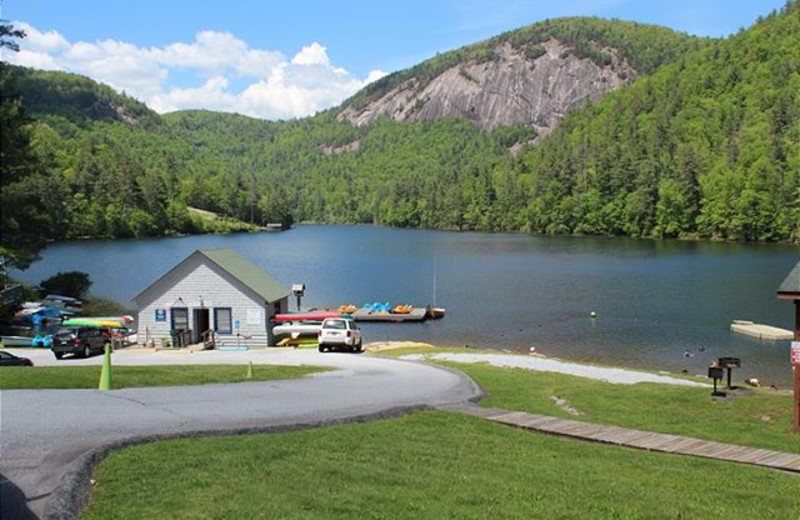 Lake view at Mountain Lake Rentals.