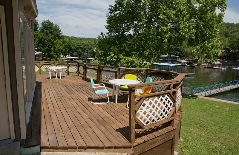 Cabin deck at Bass Point Resort.