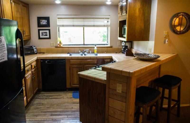 Rental kitchen at Nomadness Rentals.