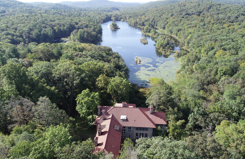 Aerial view of Arrow Park Lake and Lodge.