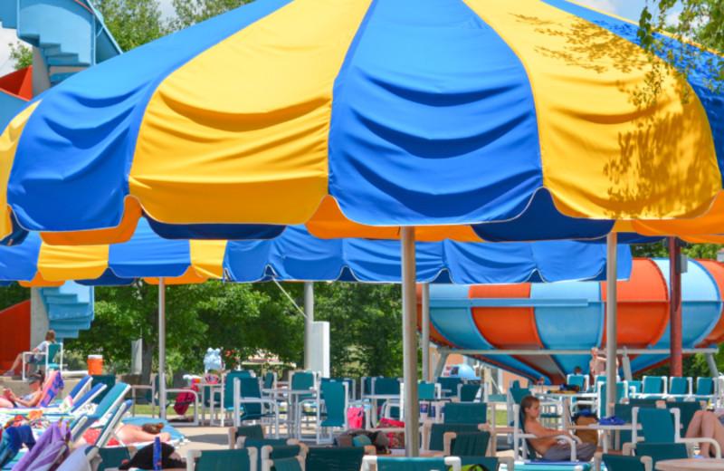 Beach umbrellas at Mark Twain Landing.
