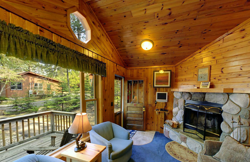 Cabin living room at Black Pine Beach Resort.