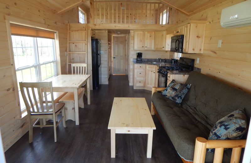 Cabin living room at Yogi Bear's Jellystone Park™ Camp-Resort in Gardiner, NY.