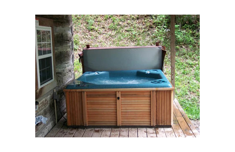 Cabin hot tub at Hocking Hills Cozy Cabins.