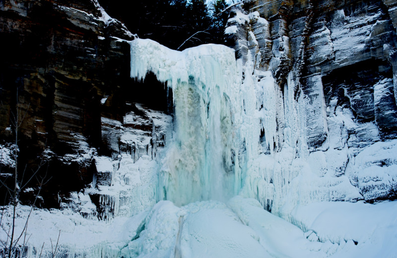 Frozen waterfall near Cayuga Lake Cabins.