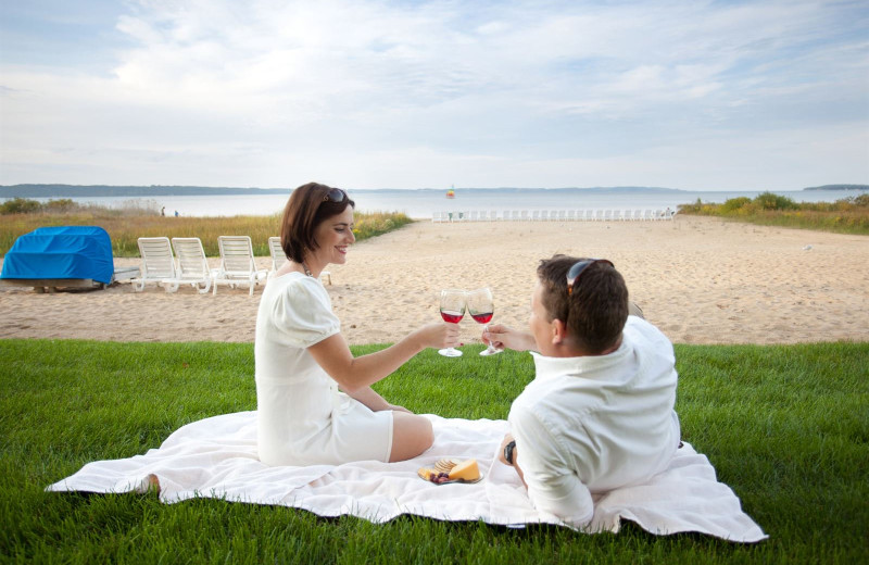 Couple at Pointes North Beachfront Resort Hotel.