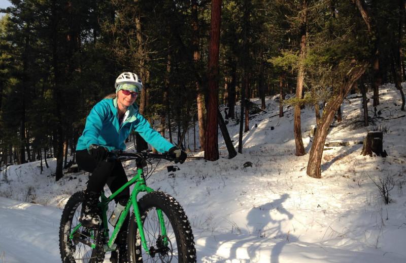 Fat biking at The Lodge at Whitefish Lake.