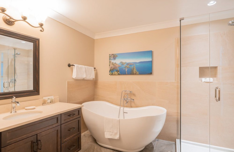 Guest bathroom at SookePoint Ocean Cottage Resort.