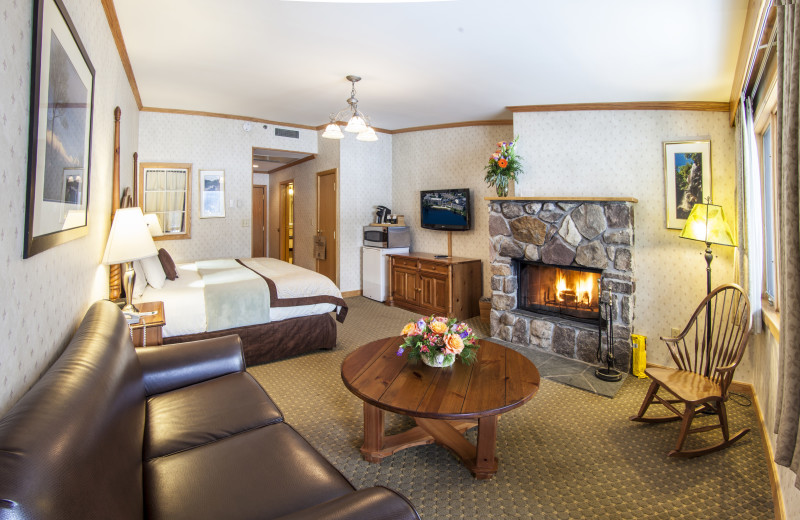 Warm up by the wood burning fire place in your specialty suite