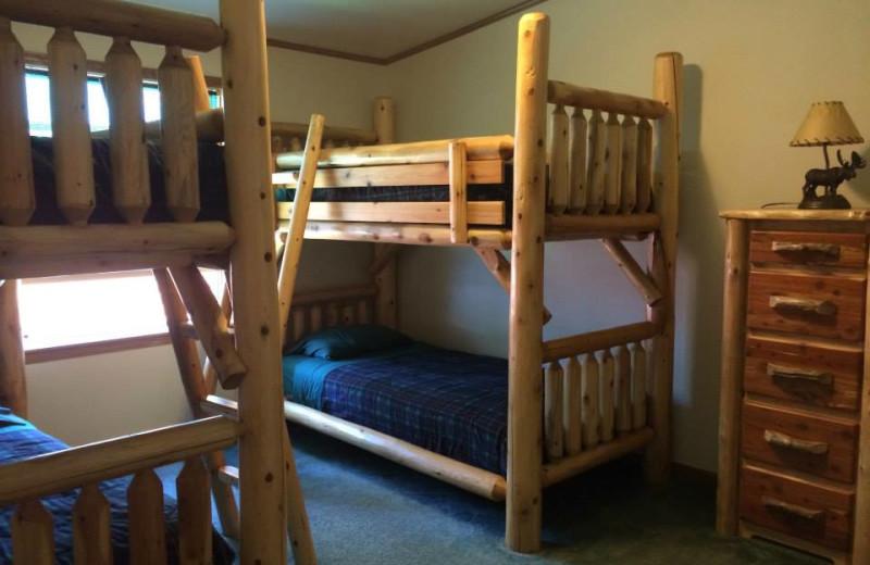 Cabin bunk beds at Comfort Cove Resort.