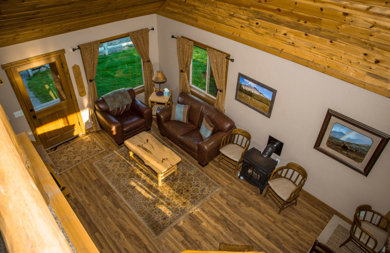 Cabin living room at Gentry River Ranch.