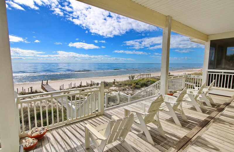 Rental deck view at Resort Vacation Properties of St. George Island.