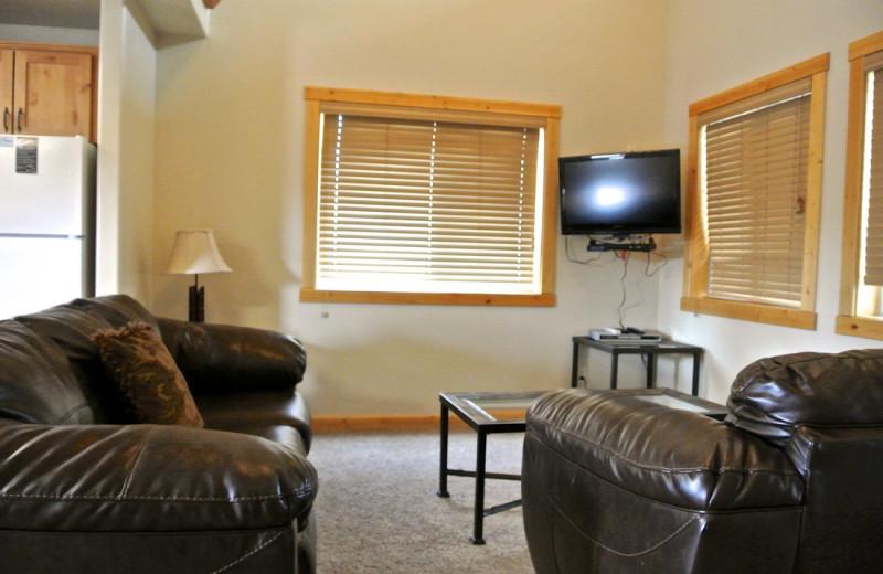 Cabin living room at Sawtelle Mountain Resort.