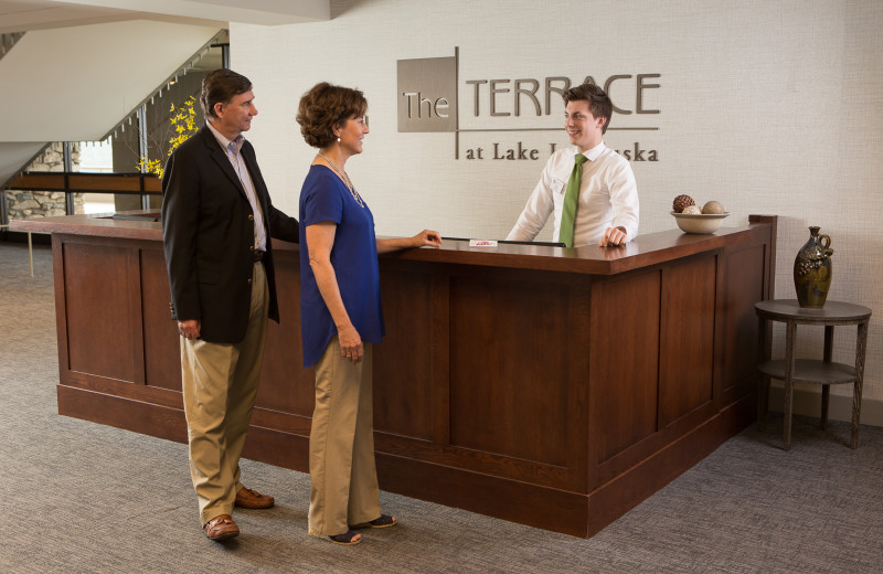 Staff at The Terrace hotel welcome guests to Lake Junaluska Conference and Retreat Center.