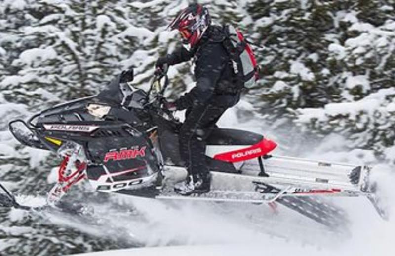Snowmobiling at Sawtelle Mountain Resort.