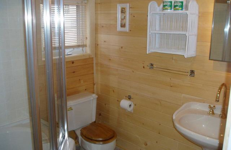 Cabin bathroom at Pleasant Cove Resort.