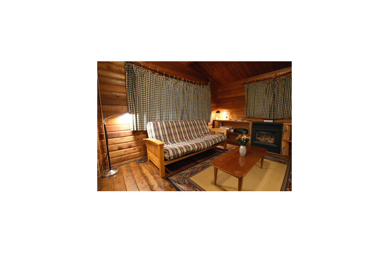 Cabin living room at Grace Haven.