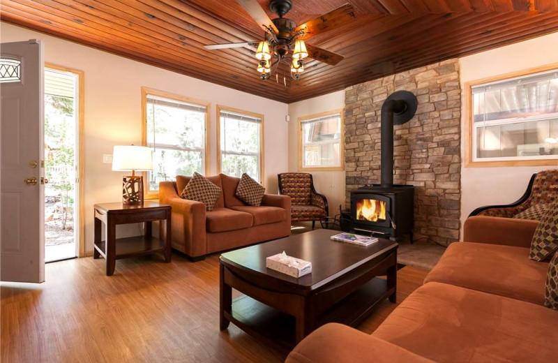 Rental living room at Big Bear Cool Cabins.