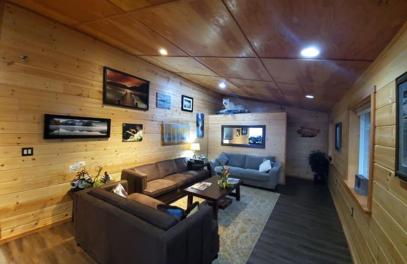 Living room at Afognak Wilderness Lodge.