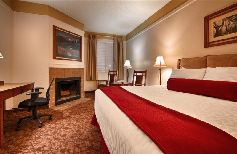 Guest room with fireplace at Best Western Sonoma Valley Inn & Krug Event Center.