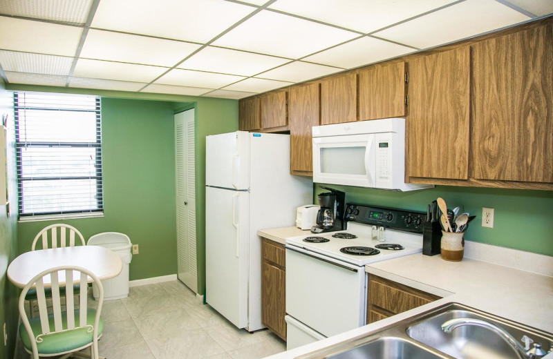 Rental kitchen at Harborview Rentals.