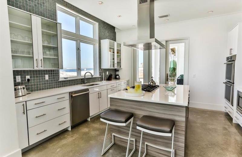 Rental kitchen at Holiday Isle Properties.