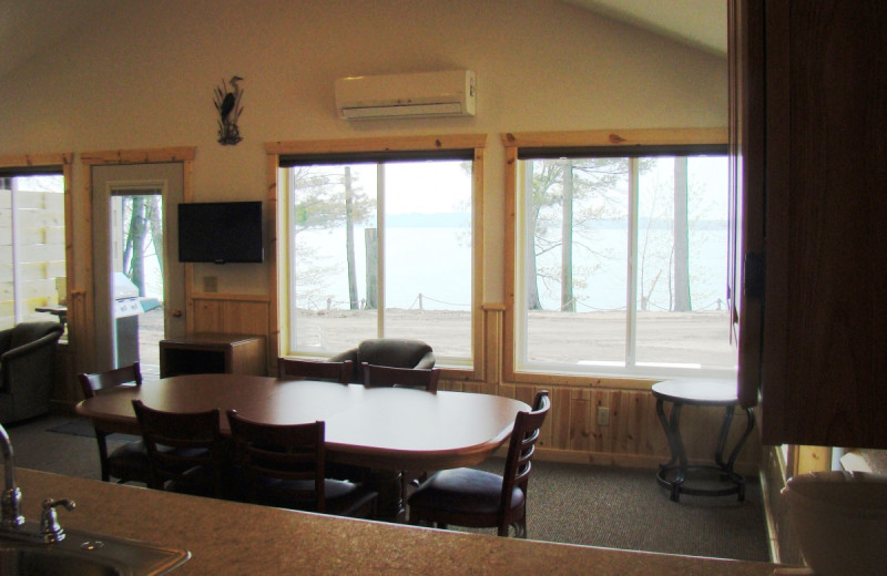 Cabin dining room at Gull Four Seasons Resort.