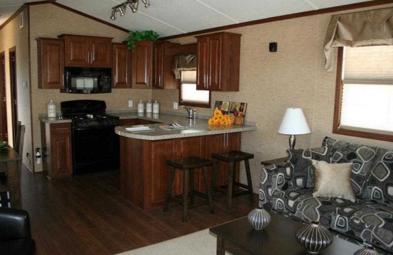 Cabin kitchen at Shamrock Bay Resort.
