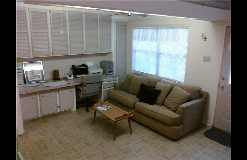 Rental living room at Carico's Lake House on LBJ.