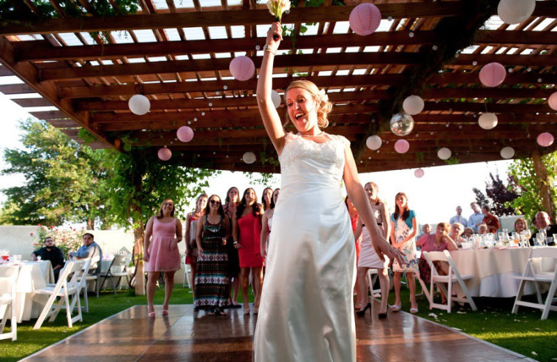 Tossing the bouquet at Inn at Paradise.